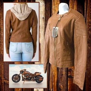 CI SONO by CAVALINI Woman's Camel Faux Leather Moto Zipper Style Jacket Size L